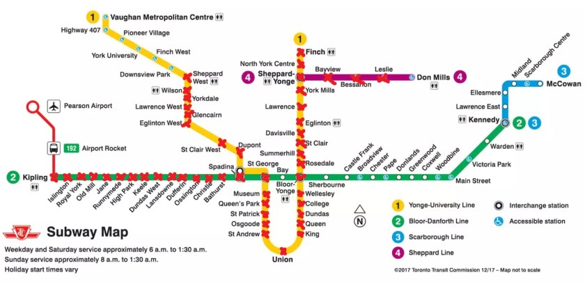TTC Map Showing the Stops I've Run as Part of the TTC Challenge