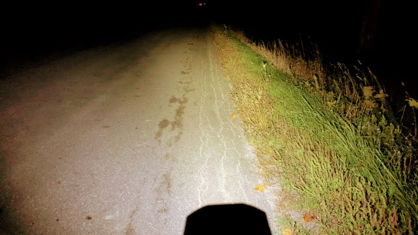 A vew of the road from my bike light while finishing out the Durham Destroyer.