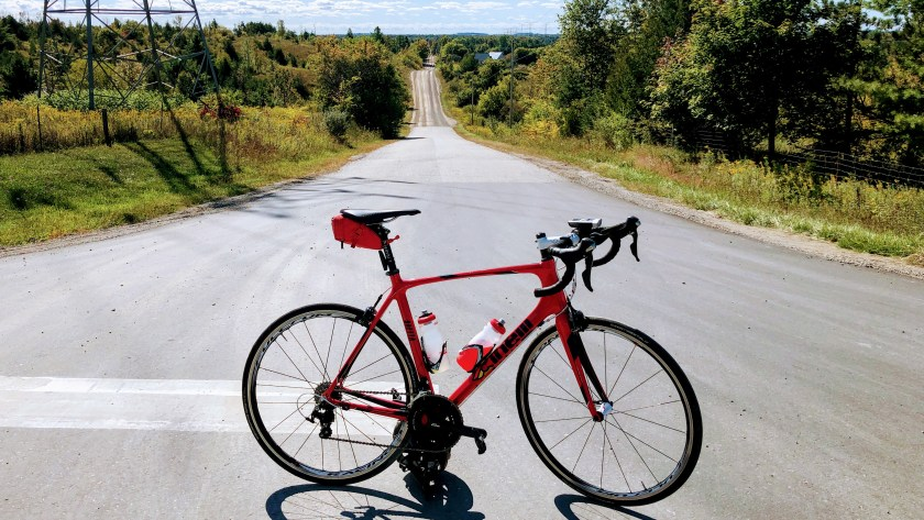 A cool looking gravel road climb I found near Puslinch Ontario on my Escarpment Ride