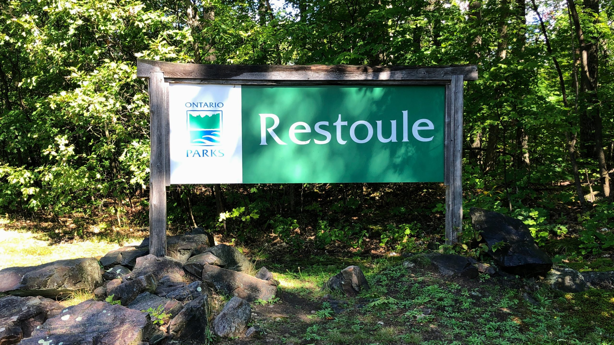 Entrance sign to Restoule Provincial Park