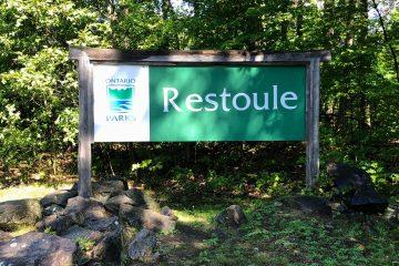 Entrance sign to Restoule Provincial Park