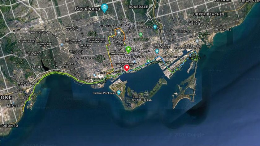 Cory Kawa - 2020 Scotiabank Toronto Waterfront Virtual Marathon Route