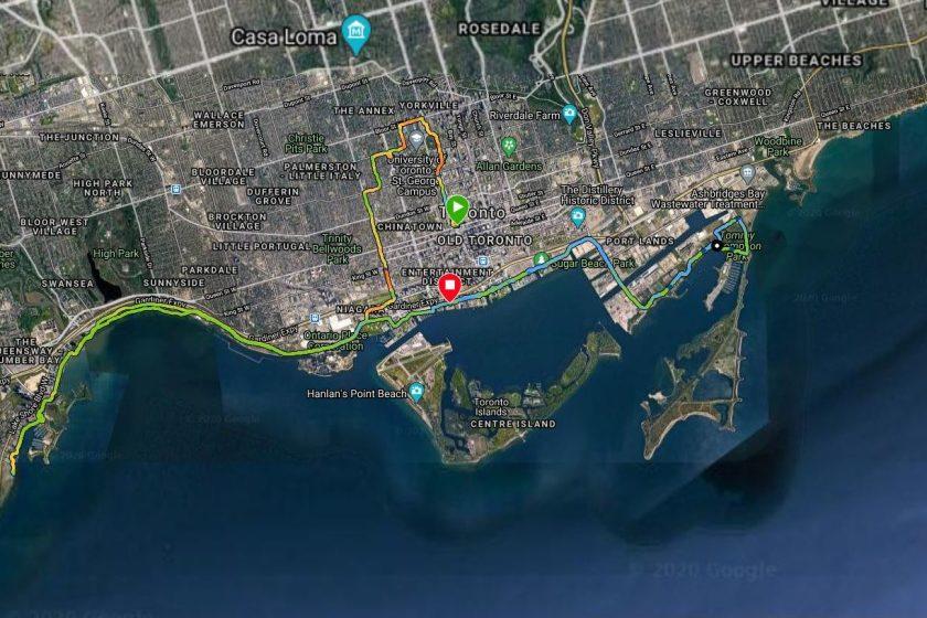 Cory Kawa - 2020 Scotiabank Toronto Waterfront Virtual Marathon Route