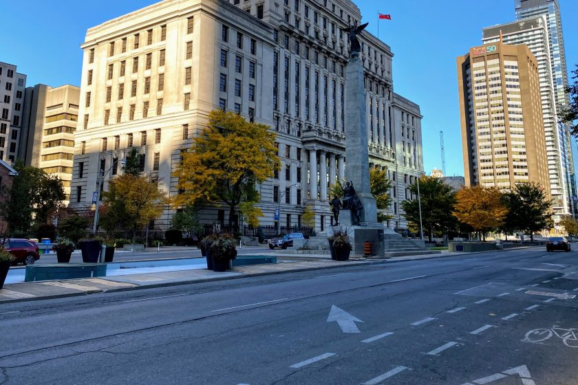 Unlike Last Year, University Ave. Was Empty As I Lined up for the 2020 Toronto Waterfront Marathon