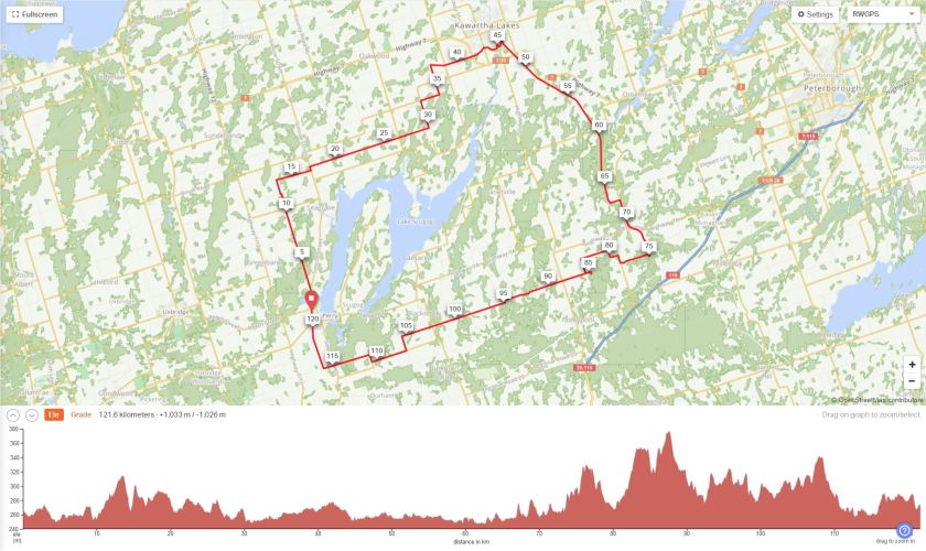 Tour of Scugog Ride with GPS profile including the route map and elevation profile.
