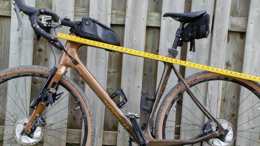 Field and Forest Frame Bag ruler on bike measurement.