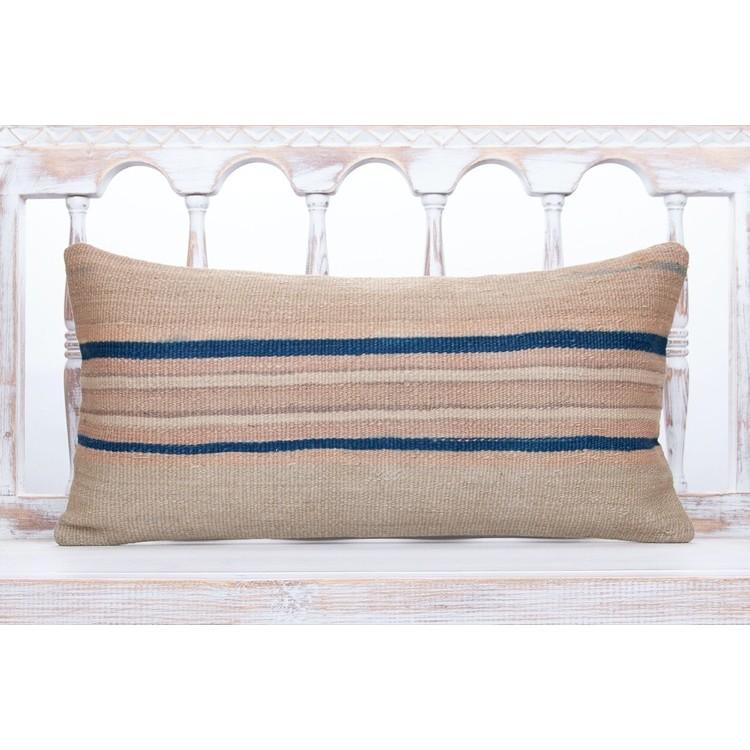 faded striped lumbar kilim pillow cover 12x24 vintage sofa decor throw