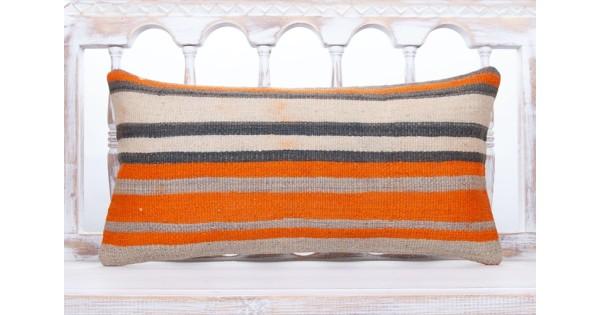 striped lumbar kilim pillow 12x24 orange decorative turkish rug cushion