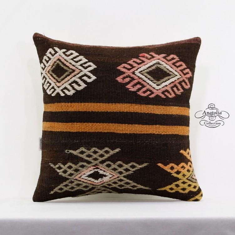 unique large kilim rug pillow cover 20x20 turkish embroidered sofa floor cushion