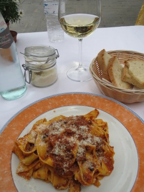 Boar ragu tagliatelle in the Piazza Independza