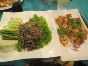 An excellent food choice - well, two choices - for dinner on my first night in Koh Samui with new hostel friends