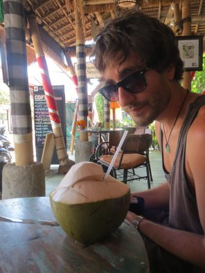 Consuming a coconut in Ubud