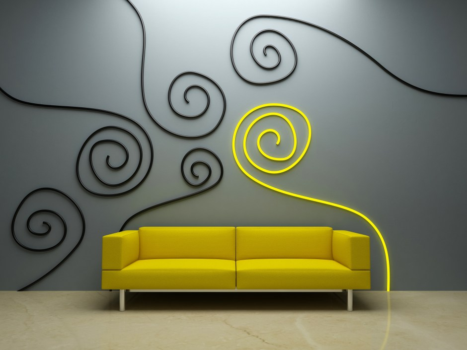 Interior design - Yellow sofa in modern style room