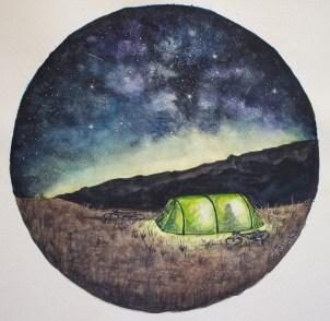 Acampamento Noturno Aquarela original