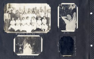 Photo album page, photos of Irene's 8th grade class in 1914 and of Florence and F.M.