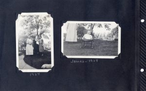 Photo album page of two photos of baby, one with his mother, grandmother, and maybe great grandmother; another of him in a rocking chair in the yard.