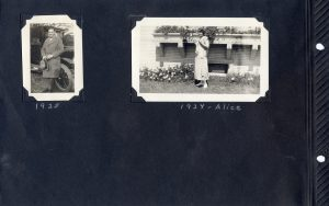 Page from Photo Album Photo of Alice in 1924 and an unidentified man in 1925.