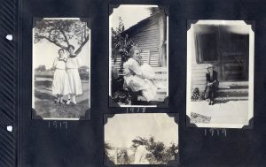 Photo album page of four photos of young women from 1917 - 1919.