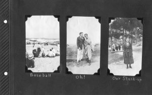Photo album page, three photos, one of some young people playing a pickup game of baseball; the second of a young couple; the third of a young woman