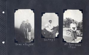 Photo album page, three photos, one of a young couple, another of a young woman riding a horse, the third of a young woman in front of a car in San Jose in 1920