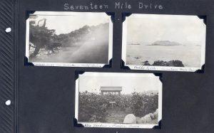 Photo album page, three photos of Seventeen Mile Drive