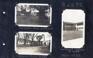 Photo album page, three photos of San Joses State Teachers' College, 1920-1922