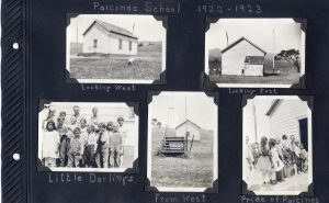 Photo album page, four photos of the Paiscines school and students in 1922-23.