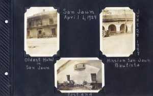 Photo album page, three photos of San Juan Bautista and the mission, in 1924