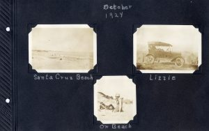 Photo album page, three photos of Santa Cruz beach in 1924, one of the beach, the other of two fellows on the beach and the third of the car