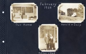 Photo album page, three photos of the house in Hughson, one with the parents in front, the other with a boy and their dog, from Feb 1924