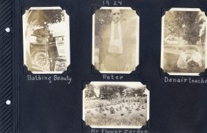 Photo album page, four unrelated photos, a young woman in a bathing gown, a young man, a flower garden, and two teachers from Denair