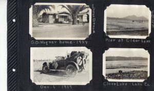 Photo album page, photo of house in Long Beach in 1924, photo of a wrecked car in 1919, and two photos of Clear Lake in 1924