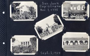 Photo album page, five photos of the San Juan Capistrano mission in Sept 1924