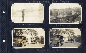 Photo Album Page with four photos of a trip to Mariposa Big Trees in 1917