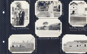 Photo album page, photos of the San Buenaventura and San Miguel missions, the latter in disrepair. A photo of a young woman, and another of a young couple, on the trip to San Diego. Also photos of Coronado Beach and Occan Park