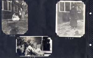 Album page with three photos, two of a young woman in 1916 and 1918, the other of an unknown woman in black