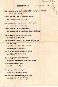Poem by Tim's Grandmother Emma Kelso