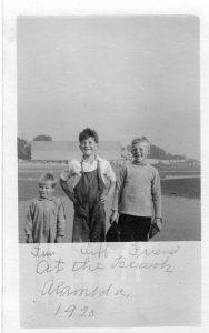 Tim, Cliff, Friend. At the beach 1920