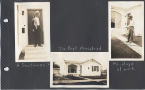 The Boyd homestead, with Mr. (Ernest) Boyd at work. San Jose.