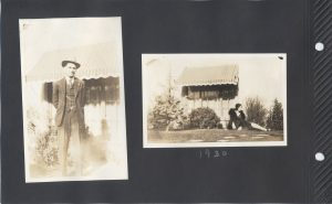 Two photos of a man in one and a woman in the other in the backyard of a house in San Jose in 1930.