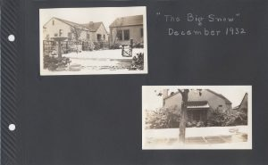 Two photos of snow on the ground in front of houses in Dec. 1932, in San Jose