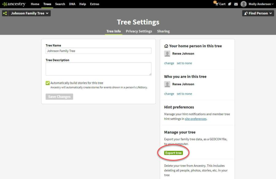 Moving Trees Between Accounts My Account Options