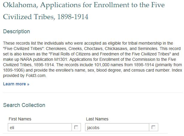Dawes Commission Search FamilySearch – Ancestry Paths