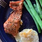 Mt McKinley Rub on salmon with fresh green beans