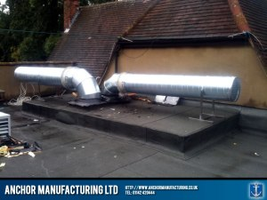 Alternative roof kitchen extraction ducting.