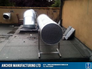 Roof based kitchen extraction ducting.