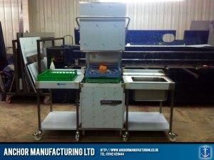 Factory made steel dishwasher enclosure.