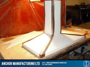 The final kitchen canopy hood for the catering trailer.