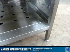Hot cupboard steel welding detail.