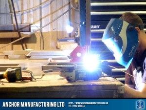 Stainless steel sink frame welding.